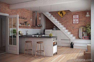 Modern Kitchen with Brick Wall Decor