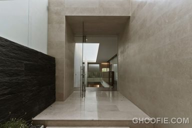 Cool Entrance Marble House Design Ideas with Glass Door