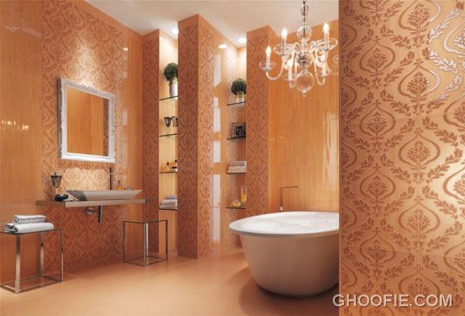 Luxury Gold Bathroom with Chandelier