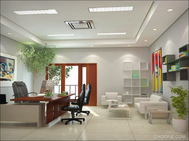 Bright Home Office Interior with Ceiling Lights