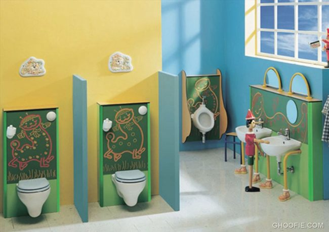 Calm Colors Retro Cute Kids Bathroom Design