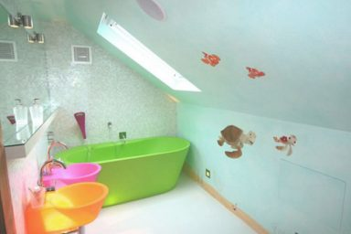 Classy Kids Bathroom with Sloping Ceiling