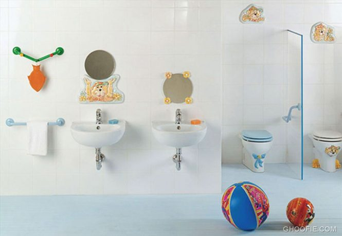 Cute Wall Decor Kids Bathroom Design