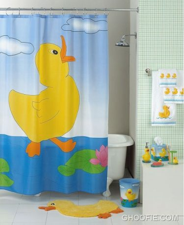 Funny Duck Shower Curtain For Kids Bathroom