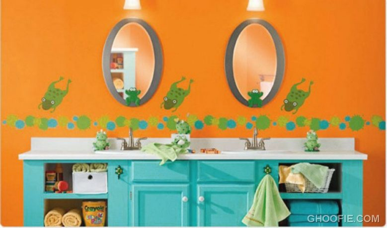Orange Wall Color Kids Bathroom Decorations