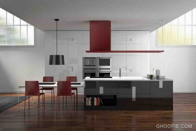 Black Pendant Lamp Glossy Dark Kitchen Island Italian Kitchen Design