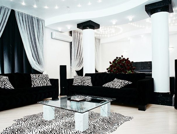 Luxurious black sofa living room