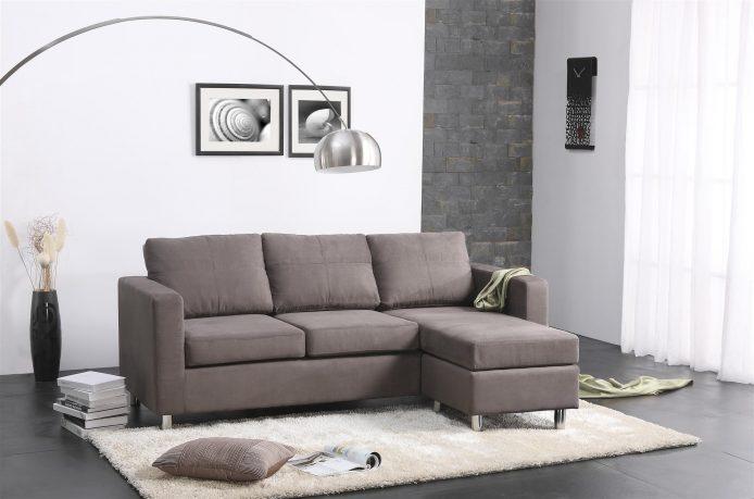 Fabulous Contemporary Gray Color Small Sectional Sofa Design