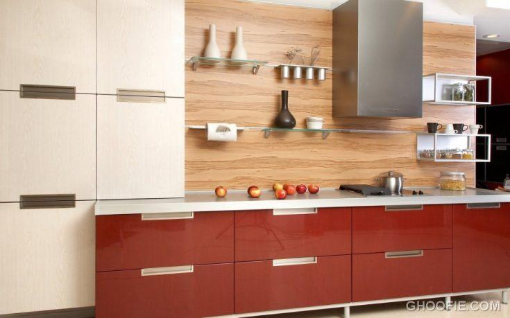Glossy Red Kitchen Cabinet Glass Floating Shelves Italian Kitchen Design