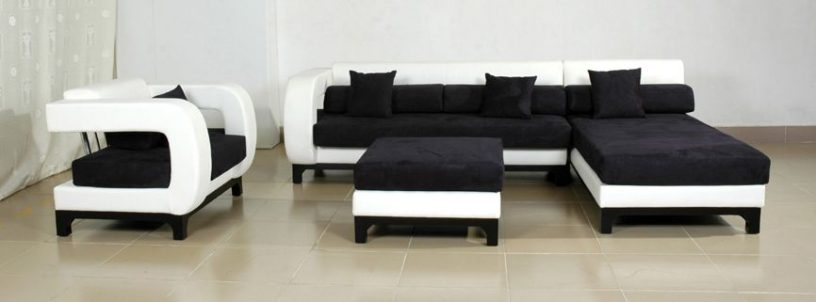 Avella white and black couch sofas