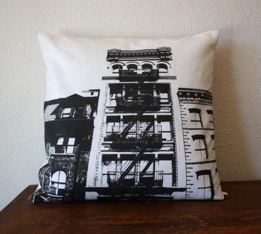 Black and white New York themed pillow