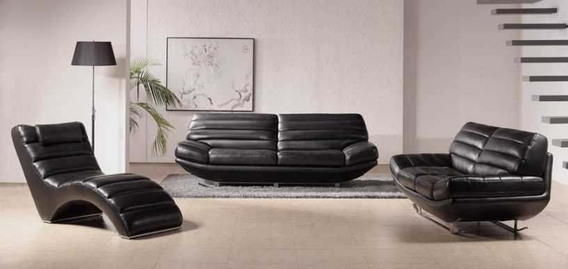 Black leather sofa in white living room