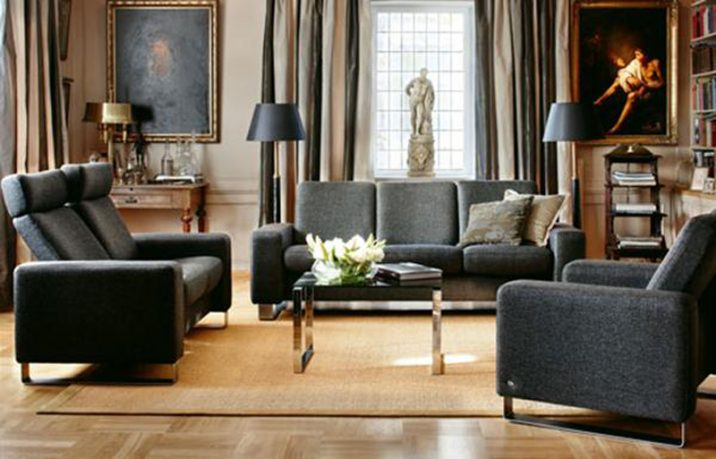 Black sofas with wood floor