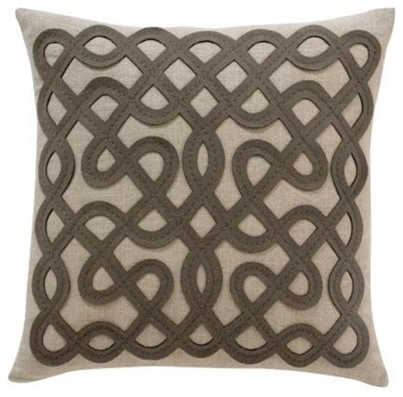Brown squiggly pattern throw pillow
