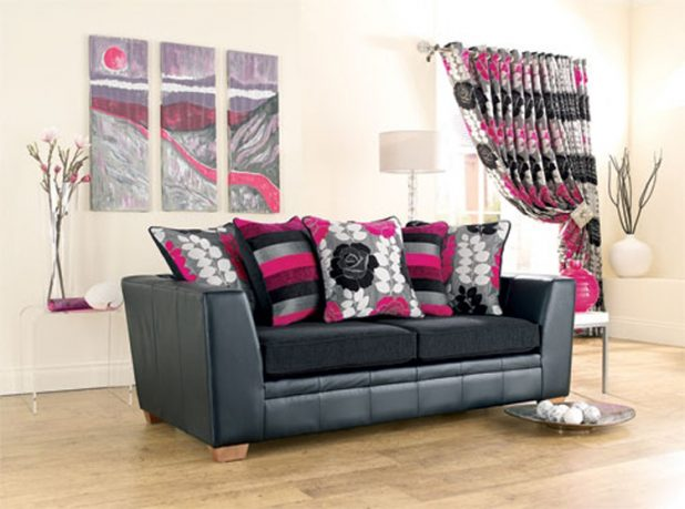 Leather sofa with pillows