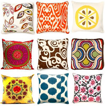 Multi-colored pillow designs and patterns