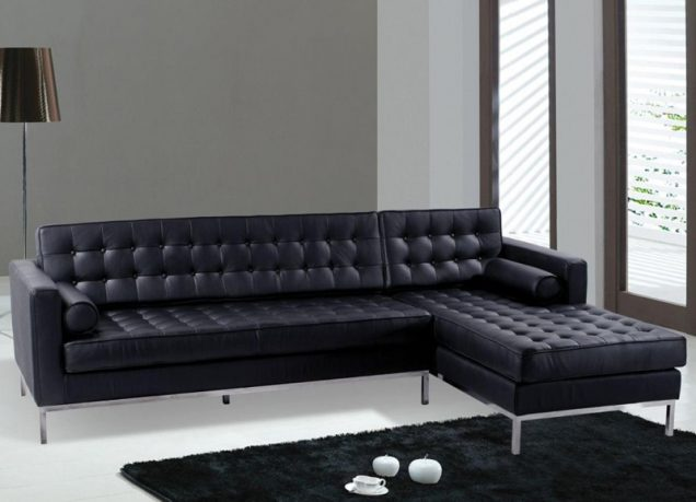 Modern black sectional sofa and couch