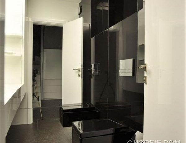Modern toilet - black and white apartment