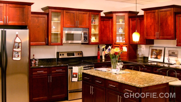Cozy wood kitchen cabinets
