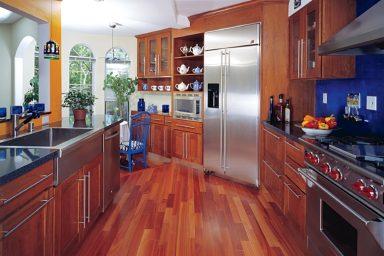 Spacious kitchen with wooden floor