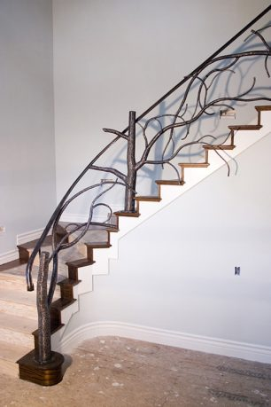 Tree style banister stairway railing