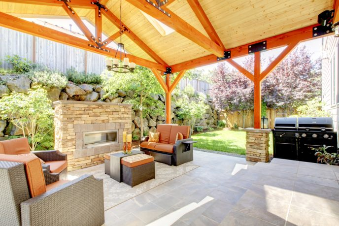 Amazing patio with grill and fireplace