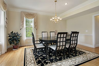 Black and white dining room with round table