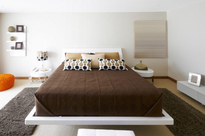 Brown white bedroom modern