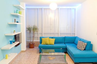 Colorful teal living room