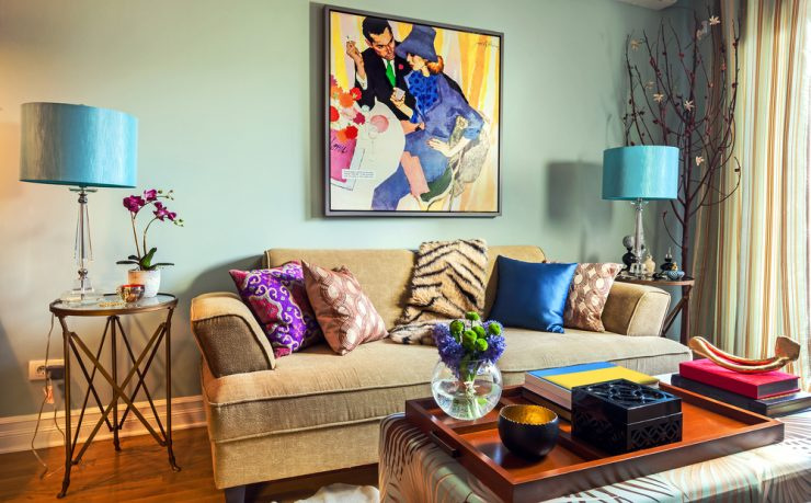 Colorful living room with blue lamps
