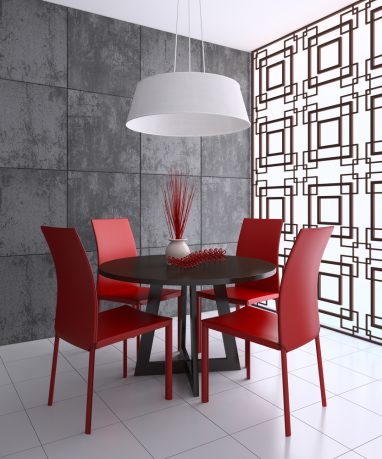 Contrast red dining room tables and lamp