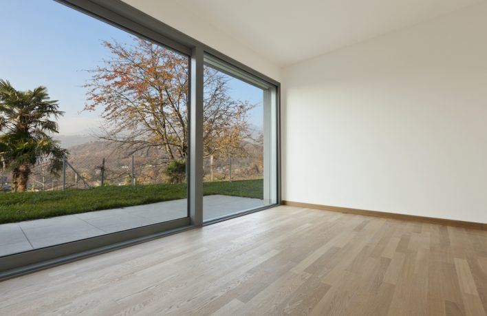 Forest view with glass wall
