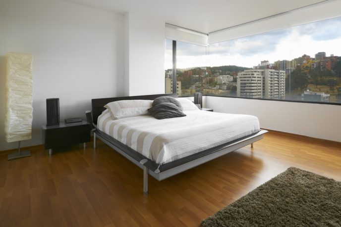Great view bedroom with white bed