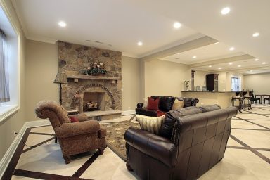 Luxurious basement with open marble