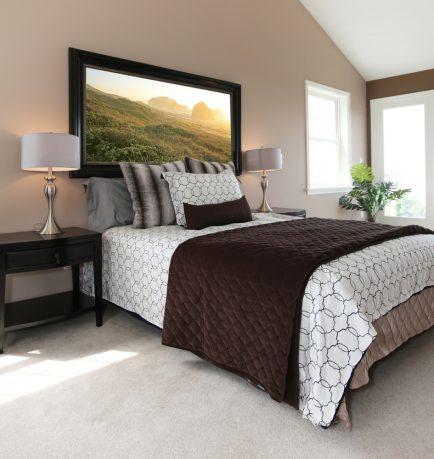 Modern bedroom with beige color