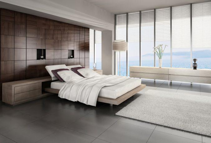 Modern bedroom with custom bed frame