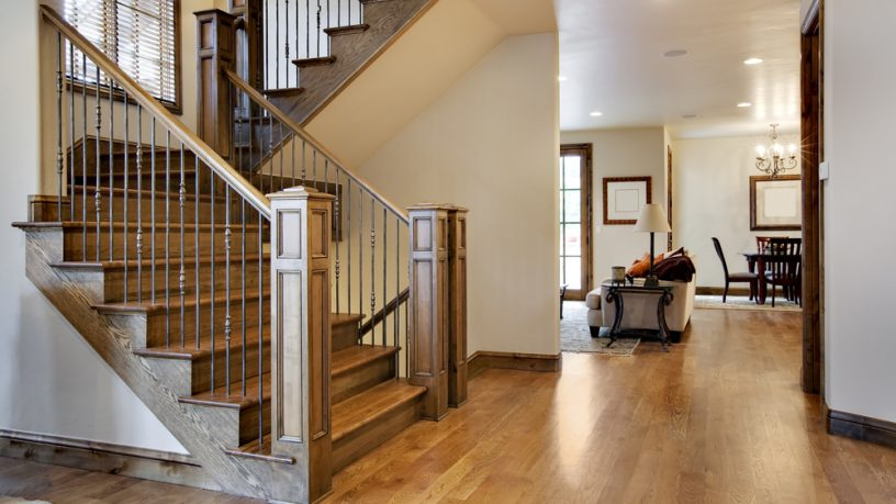 Modern entry way with wood flooring