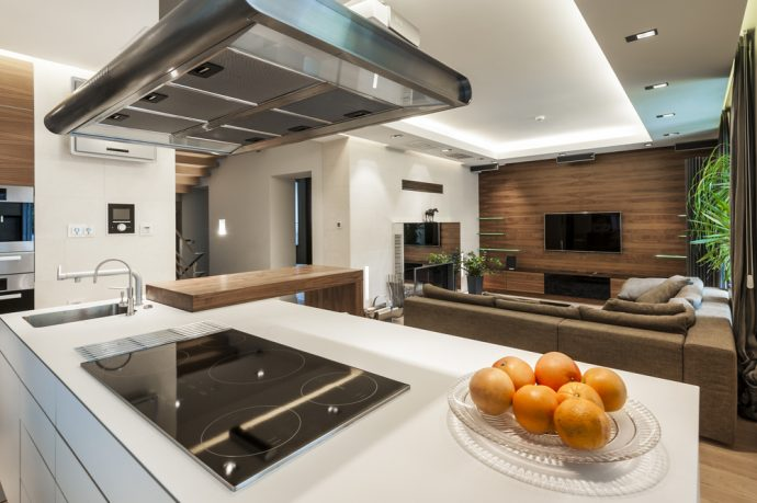 Modern kitchen design with overhead