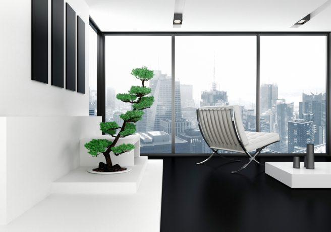 New York apartment office with amazing view