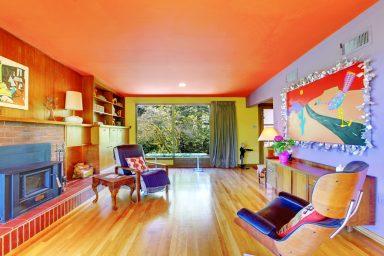 Orange and purple colorful living room
