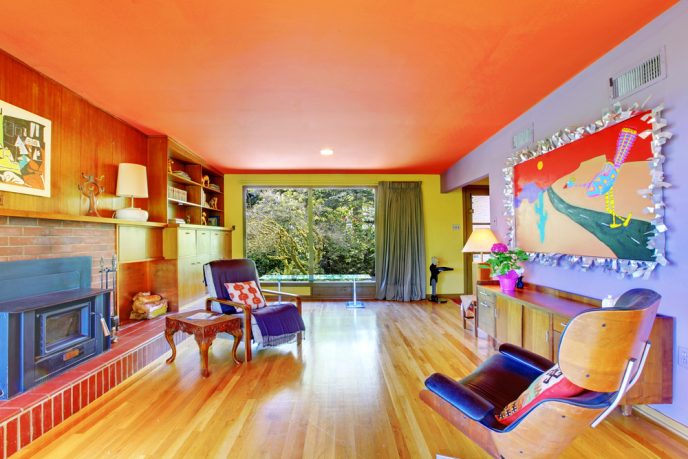 Orange and purple colorful living room