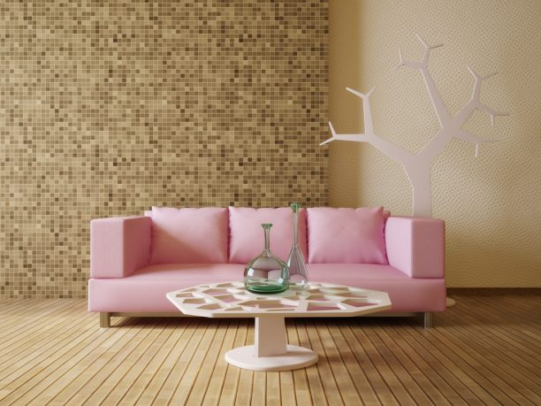 Pink couch with wood floor