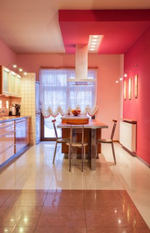 Pink wall in kitchen dining room