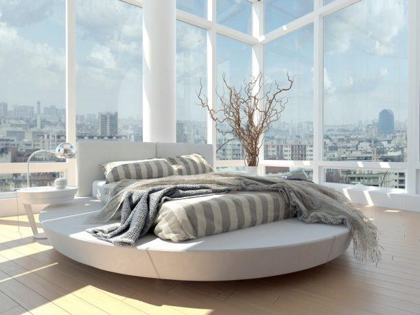 Round New York bedroom with amazing view