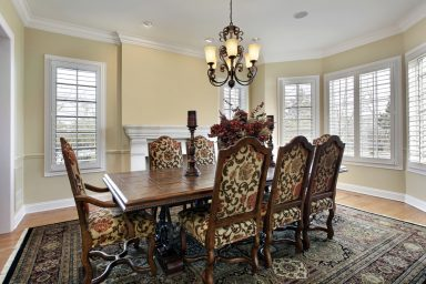 Unique dining room table with fancy chairs