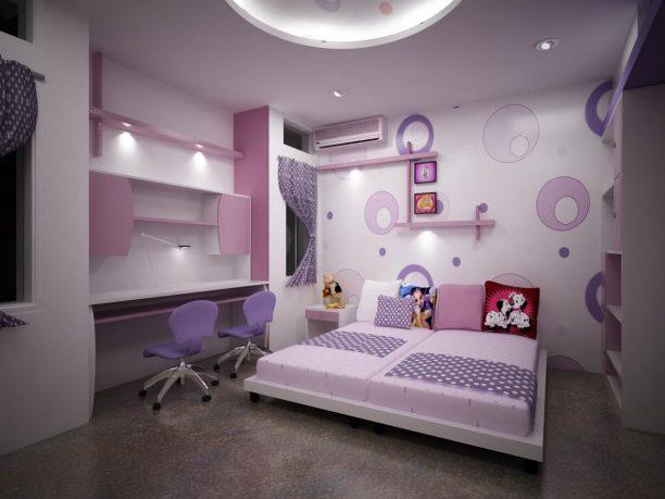 Purple home interior bedroom design