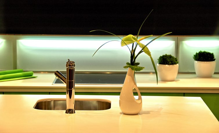 Colorful lighting and plants in kitchen