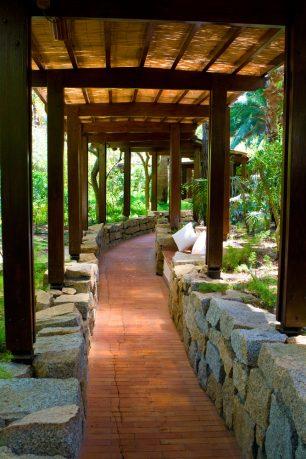 Garden walkway with covered top