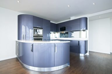 Modern futuristic purple kitchen