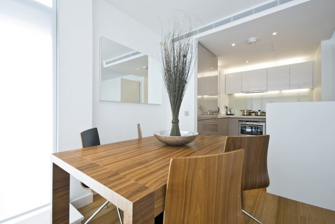 Neat wood table in dining room